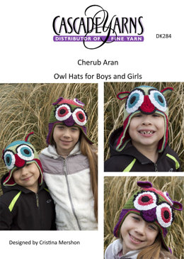 Owl Hats for Boys and Girls in Cascade Cherub Aran - DK284