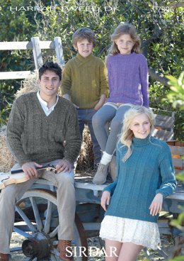 Family Sweaters in Sirdar Harrap Tweed DK - 7396 - Downloadable PDF