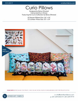 Windham Fabrics Curio Pillows - Downloadable PDF