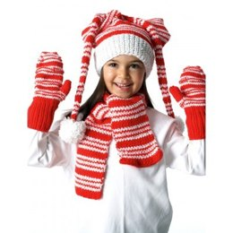 Striped Hat, Mittens and Scarf in Bernat Super Value