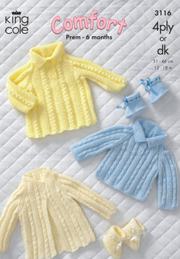 Sweater, Dress, Coat and Bootees in King Cole Comfort 4 Ply / DK - 3116