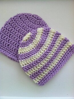 """""""Preppy"""" Crochet Baby Beanie in Stripes and Solids"""