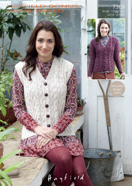 Waistcoat & Cardigan in Hayfield Bonus Aran Tweed - 7369 - Downloadable PDF