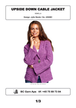 Upside Down Cable Jacket in BC Garn Semilla - 2292BC - Downloadable PDF