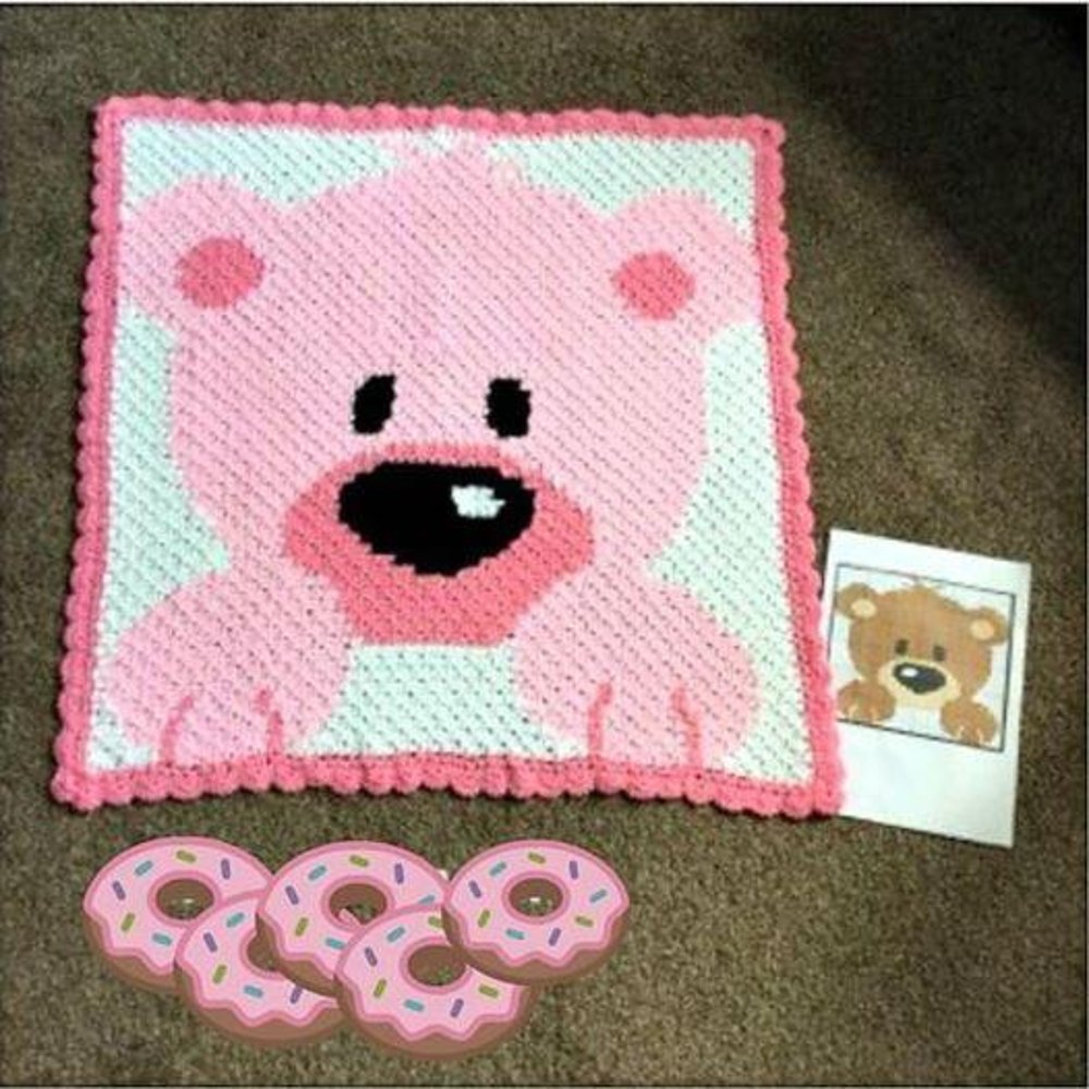 Teddy bear blanket for crochet or knitting, pattern and guide ... | 1000x1000