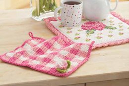Rose Potholder and Dishcloth in Lily Sugar 'n Cream Solids
