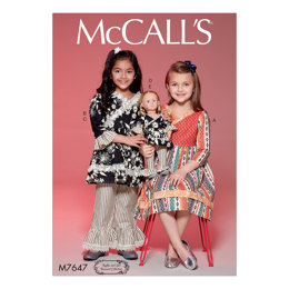 McCall's Children's/Girls' Surplice Dress and Top, Pants, 18in Doll Top and Pants M7647 - Sewing Pattern