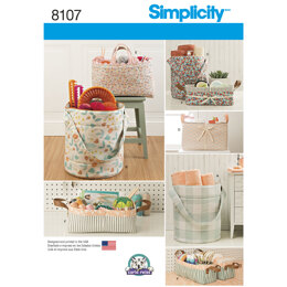 Simplicity Bucket, Basket & Tote Organizers 8107 - Paper Pattern, Size OS (ONE SIZE)