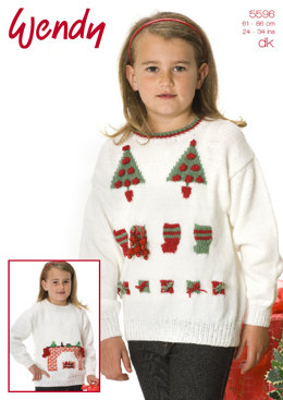 Girls Christmas Jumper in Wendy DK - 5596