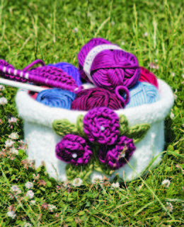 Knit & Felt Pot with Knitted Flowers in Twilleys Freedom Wool - Downloadable PDF