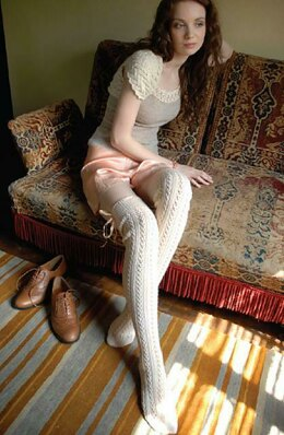 Lace rib stockings