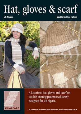 Hat, Gloves and Scarf Set in UK Alpaca Super Fine DK (Downloadable PDF)