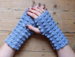 Fingerless Bobble Mitts