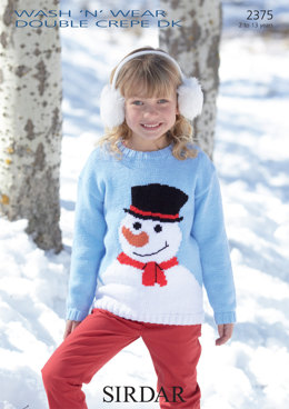 Snowman Sweater in Sirdar Wash 'n' Wear Double Crepe DK and Country Style DK - 2375