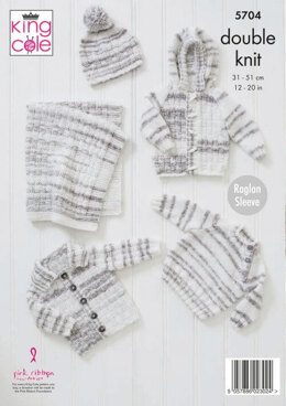 Blanket, Sweater, Jackets and Hat in King Cole Baby Stripe DK - 5704 - Leaflet