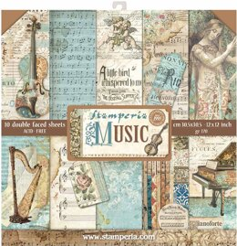 """Stamperia Intl Stamperia Double-Sided Paper Pad 12""""X12"""" 10/Pkg - Music, 10 Designs/1 Each"""