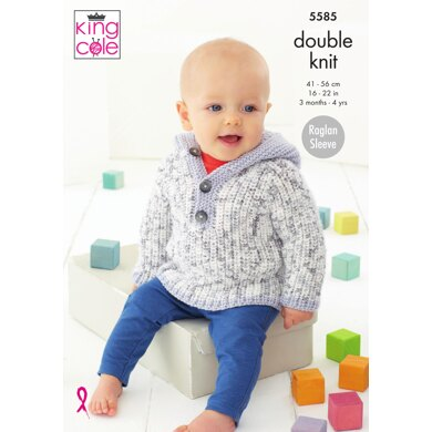 Coat, Hat & Sweater With Hood in King Cole Cherish Dash DK & Cherished DK - 5585 - Downloadable PDF