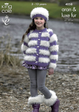Jacket, Sweater with Hood, Hat and Boot Toppers in King Cole Aran and Luxe Fur - 4058