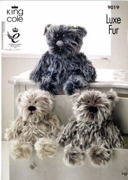 Luxe Fur Bears Toys in King Cole Big Value Aran and Luxe Fur - 9019