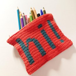 Hi! Tapestry Crochet zippered pouch