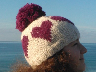 Knitted heart hat, cowl and mittens