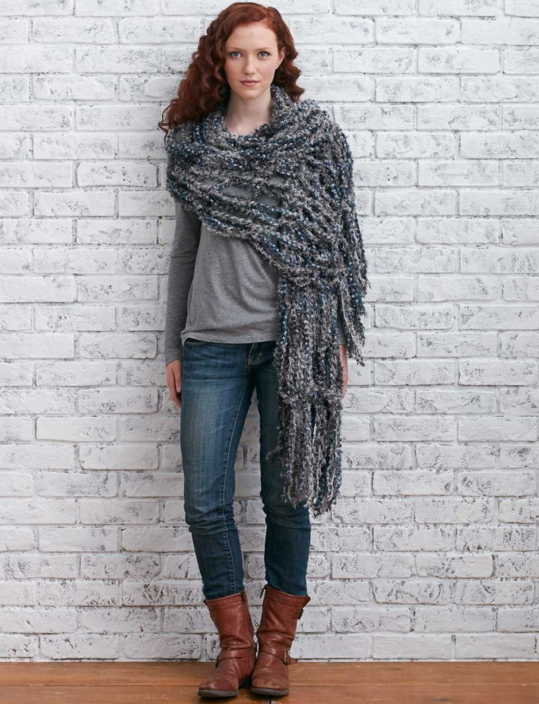 Arm Knit Fringed Wrap in Bernat Blissful