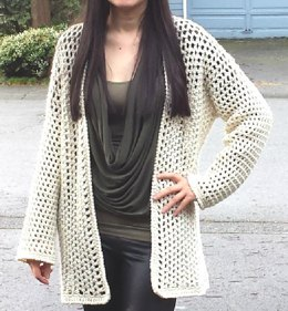 So Cute Filet Mesh Crochet Cardigan