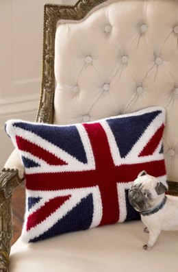 Union Jack Pillow in Red Heart Soft Solids - LW4144