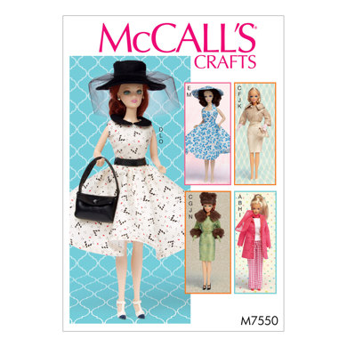 McCall's Retro-Style Clothes and Accessories for 11½in Doll M7550 - Sewing Pattern