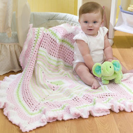 Ruffled Granny Baby Blanket in Red Heart Monn and Stars - WR1986 - Downloadable PDF