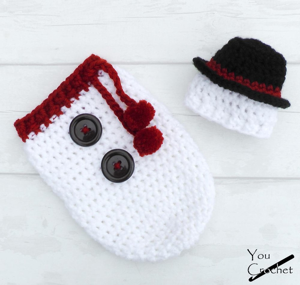Christmas Snowman Hat And Cocoon Set Crochet Pattern By You