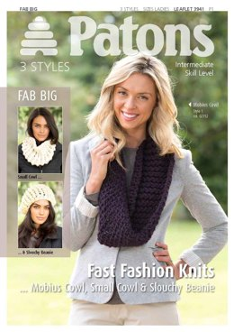 Mobius Cowl, Small Cowl and Slouchy Beanie in Patons Fab Big Colour