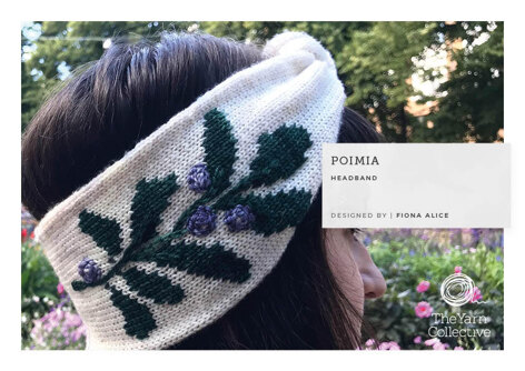 Poimia -  Headband Knitting Pattern For Women in The Yarn Collective Fleurville 4ply by Fiona Alice