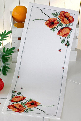 Permin Poppy Table Runner Cross Stitch Kit - 24cm x 66cm