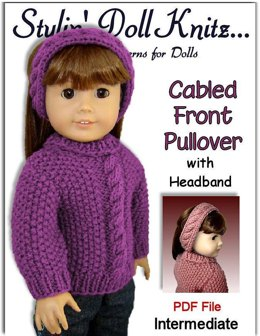 Pdf 18 inch doll knitting pattern. Fits American Girl Doll. Cabled Front 003