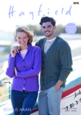 V Neck & Shawl Collar Cardigans in Hayfield Bonus Aran - 8098 - Downloadable PDF