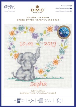 DMC Elephant Baby Cross Stitch - 19 x 19 cm