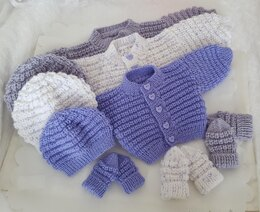 Snuggly Baby Cardigan, Hat & Mittens