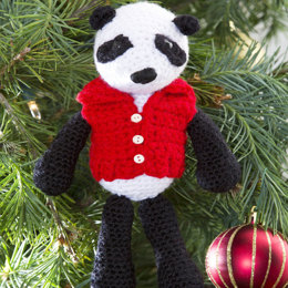 Vested Panda Ornament in Red Heart US - LW3187 - Downloadable PDF