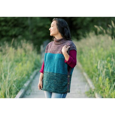 Drifter Colourblock Poncho in SweetGeorgia Superwash Worsted - VOL6.2 - Downloadable PDF