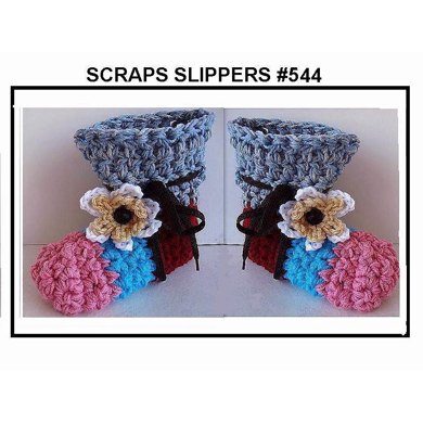 544 SCRAPS SLIPPERS Newborn to Adult Large