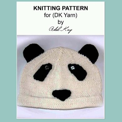 Ke Panda Animal Bear Beanie SKi Cap Ladies Childrens Cute Hat Knitting Pattern by Adel Kay