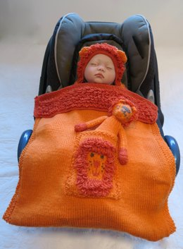Lion Hooded Baby Car Seat Blanket