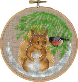 Permin Squirrel Cross Stitch Kit (with hoop) - 13cm