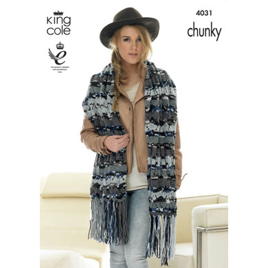 Scarf, Snoods and Shawl in King Cole Big Value Multi Chunky - 4031