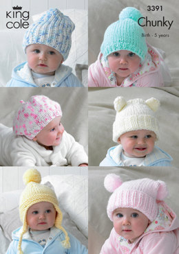 Children's Hats in King Cole Comfort Chunky and Multi Chunky - 3391