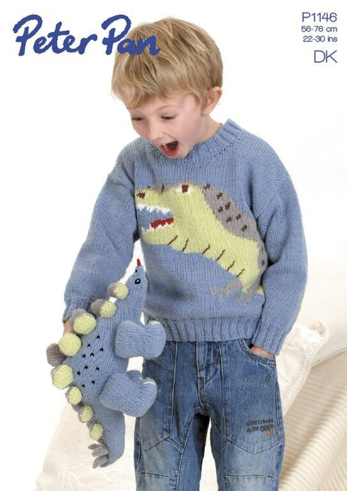 Dinosaur Sweater And Toy In Peter Pan Dk 1146 Knitting