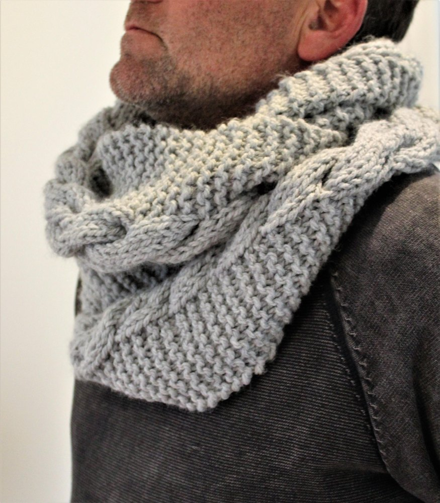 Mens Storm Cable Cowl Knitting Pattern By Willow Tree