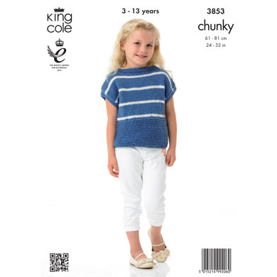 Girls' Cardigan and Top in King Cole Big Value Chunky - 3853