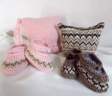 Baby Hat and Booties set, with or without Fair Isle pattern